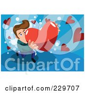 Royalty Free RF Clipart Illustration Of A Man Presenting A Big Heart Over Blue by mayawizard101