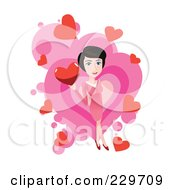 Woman Holding A Heart Over Pink And White 2