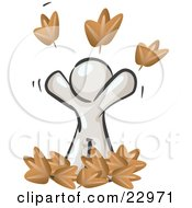 Clipart Illustration Of A Carefree White Man Tossing Up Autumn Leaves In The Air Symbolizing Happiness And Freedom