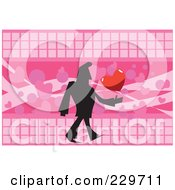 Silhouetted Man Walking With A Heart Over Pink
