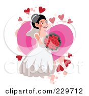 Happy Bride Holding Roses Over A Pink Heart On White