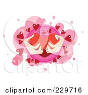 Womans Hands Holding A Big Red Heart Over Pink And White 1