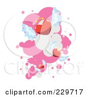 Royalty Free RF Clipart Illustration Of Winged Angel Hearts Over Pink And White 2