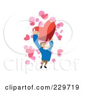 Strong Man Holding Up A Red Heart Over Pink And White