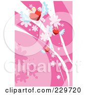 Pink Winged Heart Background 1