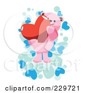 Royalty Free RF Clipart Illustration Of A Pink Teddy Bear Holding A Heart Over A Blue Hearts On White by mayawizard101