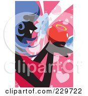 Blue Haired Woman Holding A Winged Heart On Pink