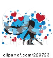 Silhouetted Walking Woman With Hearts On Blue And White