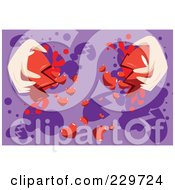 Royalty Free RF Clipart Illustration Of A Pair Of Hands Breaking A Heart Over Purple by mayawizard101