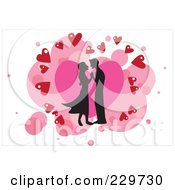 Silhouetted Couple Over Hearts On White 2