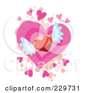 Red Winged Heart Over Pink And Beige Hearts And Splatters On White