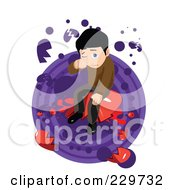 Sad Man Crying And Sitting On A Heart Over Purple And White