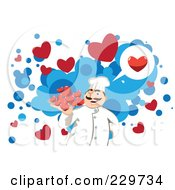 Royalty Free RF Clipart Illustration Of A Chef Serving Hearts Over Blue And White by mayawizard101