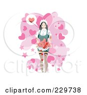Woman Serving Hearts Over Pink And White
