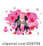 Silhouetted Couple Over Hearts On White 1