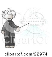 White Einstein Man Pointing A Stick At A Presentation Of A Flying Saucer