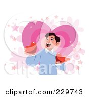 Happy Man Holding Two Hearts Over Pink And White