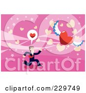 Businessman Chasing A Winged Heart On Pink