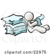 Clipart Illustration Of A White Man Leaning Against A Stack Of Papers