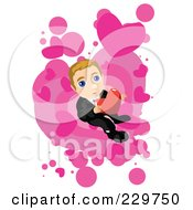 Nervous Businessman Holding A Heart Over Pink And White