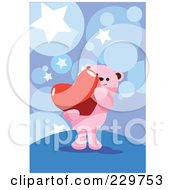 Pink Teddy Bear Carrying A Heart Over A Blue Star Background