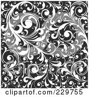 Royalty Free RF Clip Art Illustration Of A Black And White Background Pattern Of Leafy Vines