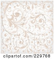Royalty Free RF Clipart Illustration Of A Beige And White Background Pattern Of Leafy Vines
