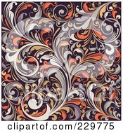 Royalty-Free (RF) Clipart Illustration of a Beige, Orange And Brown Background Pattern Of Leafy Vines by OnFocusMedia