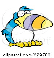 Royalty Free RF Clipart Illustration Of A Goofy Blue Toucan With A White Belly by Johnny Sajem