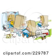 Royalty Free RF Clipart Illustration Of A Dog Staring At A Ball And A Team Of Movers Moving Boxes On Moving Day