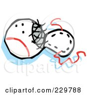 Royalty Free RF Clipart Illustration Of A Ripped Baseball by Johnny Sajem