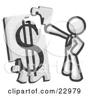 Clipart Illustration Of A White Businessman Putting A Dollar Sign Puzzle Together