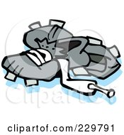 Royalty Free RF Clipart Illustration Of A Pair Of Baseball Cleats by Johnny Sajem
