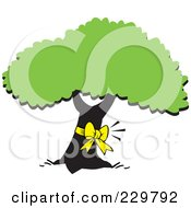 Royalty Free RF Clipart Illustration Of A Yellow Ribbon On A Tree Trunk by Johnny Sajem