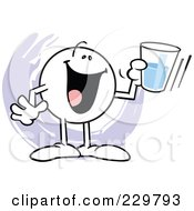 Royalty Free RF Clipart Illustration Of A Moodie Character Holding A Glass Half Full