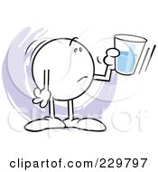 Royalty Free RF Clipart Illustration Of A Distraught Moodie Character Holding A Glass Half Empty