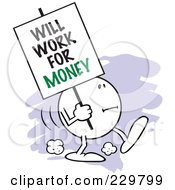 Royalty Free RF Clipart Illustration Of A Moodie Character Carrying A Will Work For Money Sign by Johnny Sajem