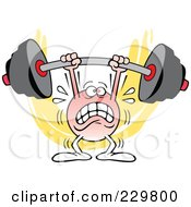 Royalty Free RF Clipart Illustration Of A Strugging Moodie Character Lifting A Barbell by Johnny Sajem