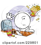 Royalty-Free (RF) Clipart Illustration of a Moodie Character Holding Fries With One Foot In The Grave by Johnny Sajem