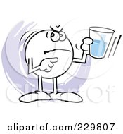 Royalty Free RF Clipart Illustration Of A Mad Moodie Character Holding A Glass Half Empty