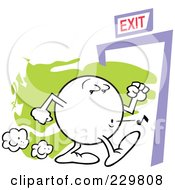 Royalty Free RF Clipart Illustration Of A Moodie Character Casually Making His Way To An Exit