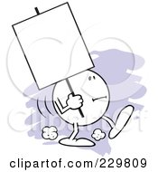 Moodie Character Carrying A Blank Sign