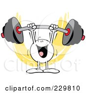 Royalty Free RF Clipart Illustration Of A Moodie Character Easily Lifting A Barbell by Johnny Sajem