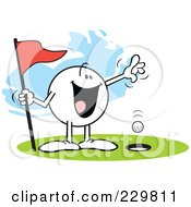 Royalty Free RF Clipart Illustration Of A Happy Moodie Character Golfing A Hole In One by Johnny Sajem