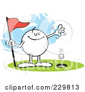 Royalty Free RF Clipart Illustration Of A Smug Moodie Character Golfing A Hole In One