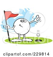 Royalty Free RF Clipart Illustration Of A Sneaky Moodie Character Golfing A Hole In One