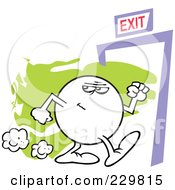 Royalty Free RF Clipart Illustration Of A Moodie Character Suspiciously Making His Way To An Exit