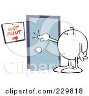Royalty Free RF Clipart Illustration Of A Moodie Character Touching Wet Paint On A Door