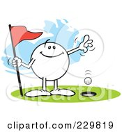 Royalty Free RF Clipart Illustration Of A Pleased Moodie Character Golfing A Hole In One