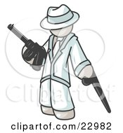 Clipart Illustration Of A White Gangster Man Carrying A Gun And Leaning On A Cane